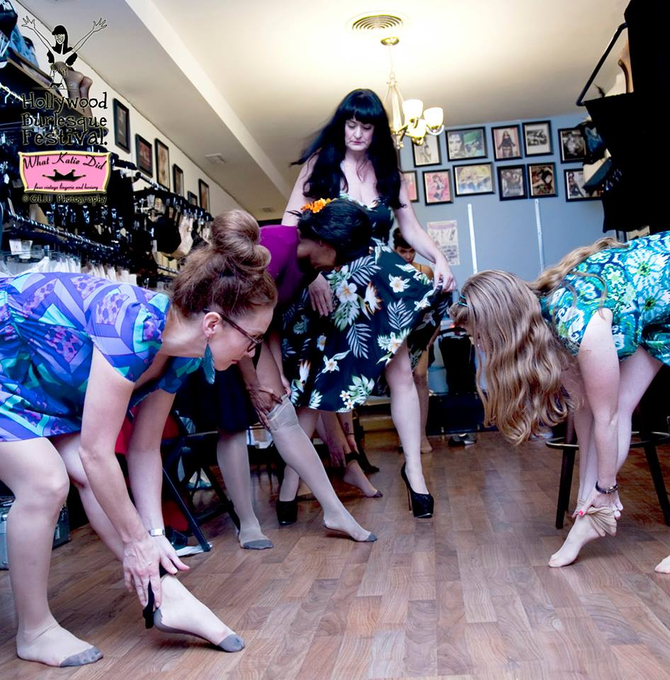 Lili VonSchtupp & Red Snapper show the ladies how to peel stockings for stage or lovers at What Katie Did Los Angeles